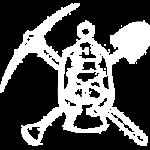 Strumenti del minatore: lampada a olio con piccozza e pala incrociate